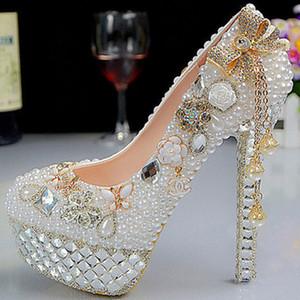 جديد أزياء الكريستال لؤلؤة أحذية الزفاف الترا عالية الكعب منصة الأبيض أحذية الزفاف اللباس الرسمي أحذية حجر الراين اللباس