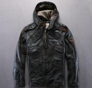 Камуфляж AVIREXFLY кожаные куртки с капюшоном мотоцикл куртки 100% натуральная кожа Slim fit куртка