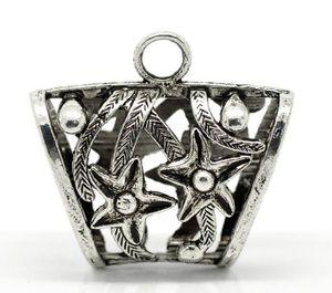 Dorabeads Antique Silver Flower Bail Beads for Wrap Scarf 3.9x3.8cm (Tamaño del agujero: 24x13mm), vendido por paquete de 5