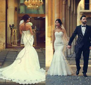 Vestido de noiva 2019 Nuevo estilo Iglesia Vestido de novia Sirena de encaje Apliques de encaje blanco Vestidos de novia sin tirantes con encaje