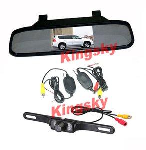 """Kit de visión trasera para automóvil inalámbrico 4.3 """"Monitor de espejo LCD para automóvil + Cámara de respaldo 7IR LED para visión nocturna con marcha atrás e impermeable"""