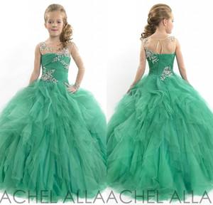 Beleza glitz meninas concurso vestidos princesa tulle frisado verde uma luva crianças crianças flor menina vestidos