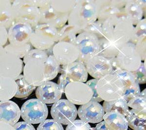 Livraison gratuite 1000 pcs / sac 5mm AB Couleur Colle sur Perles Perles Lâches Imitation Flatback Demi Ronde Perle Pour DIY cas de téléphoneNail Art