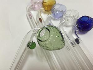 Venta al por mayor Colorido 14 cm Fresa pyrex Glass Oil quemadores de vidrio colorido tubos de fumar para narguile