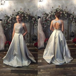 2019 Fahsion Silver Long Prom Dresses Backless Jewel Neck Sleeveless Beaded Lace Satin A-Line Party Gowns Custom Made P190