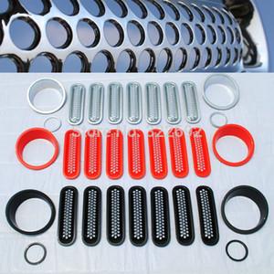 Grade de Malha Cobre Guarnições + Farol Bisel + Frente Luzes de Nevoeiro Covers Shell Surrounds Kits Para Jeep Wrangler jk 07-15 frete grátis