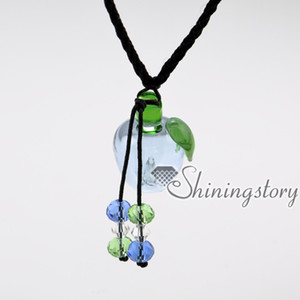 wholesale diffuser necklace lampwork glass essential jewelry perfume sample vials diffuser necklace for essential oils perfume sample vials