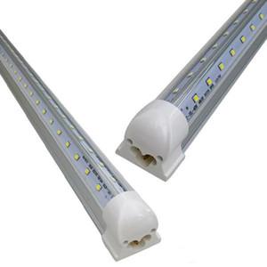V-образный T8 светодиодные трубки огни 72W 8FT 2.4M Интегрированная Cooler дверь вела Люминесцентные лампы загораются лампы 270Angle Double Glow освещение 110-277V 50