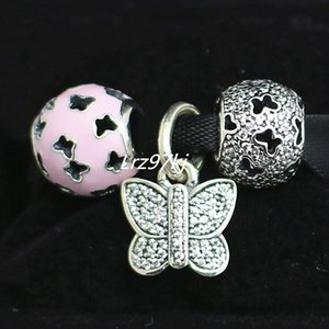100% 925 Sterling Silver Charms and Murano Glass Bead Set Fits European Pandora Jewelry Charm Bracelets-DS009