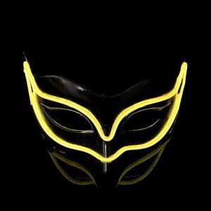 LED Licht Leucht Fox Masken Für Halloween Ghost Half Face EL Draht Maske Palstic Für Maskerade Decor Beliebte 18yh B