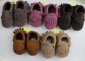 Bebek süet Hakiki Inek deri moccasins yumuşak saçak moccs 5 renkler erkek kız moccasins ilk yürüteç kaymaz ayakkabı 18 pairs