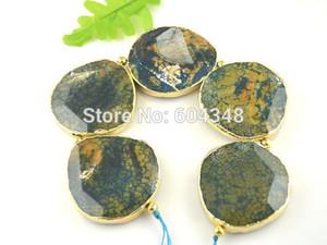 Borde bañado en oro con cuentas de piedra druzy de ágata grande - Piedra de losa verde oliva Conector de perlas Pendiente pulido - Cadena completa