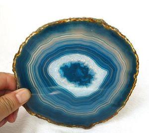Toptan güzel Doğal mavi akik dilim şifa doğal taşlar ve mineraller için noel hediyesi Ücretsiz kargo