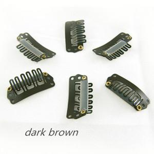 Dunkelbraun Farbe Clips 3.2cm Haar-Klipp-U-Spitze-Verschluss für Haar-Verlängerungen einschlag Perücken Haarschmuck 32mm 4 Farben vorhanden, 100pcs / lot