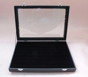 49 Coppia di gemelli da riporre in vetro Top Case / DISPLAY RING Box Black wood Free Ship