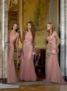 Coral Appliques Tulle Floor Length V-Neck Long Bridesmaid Dresses Pleats 2015 Mermaid Plus Size Convertible Dresses Maid of Honor Custom