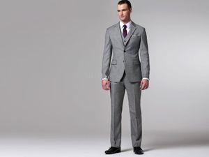 Por encargo a medida clásico gris boda smoking, BESPOKE trajes de novio adaptados para hombres (chaqueta + pantalones + chaleco) - h60