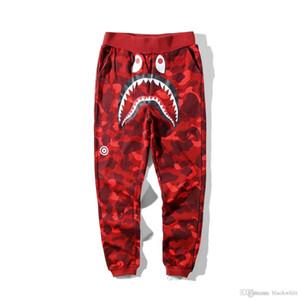 Novo Tubarão Algodão Camo Causal Calças Dos Homens Casuais Azul Vermelho Roxo Camuflagem Skate Hip Hop Calças Soltas Streetwear