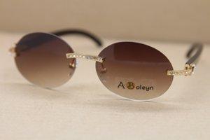 안경을 운전 안경 야외 배송비 새 스타일 큰 다이아몬드 T8307003 선글라스 타원형 블랙 버팔로 호른 선글라스 무료 크기 : 56-18-140mm