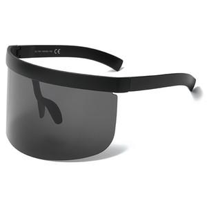 Vintage extra gran tamaño escudo visera gafas de sol mujeres máscara superior plana espejos sombreados hombres a prueba de viento gafas UV400 Y249