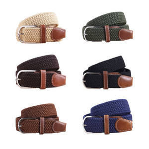 Wholesale-Hot Sales Mens Belts  2015 Women Canvas Belts Woven Stretch Braided Elastic Leather Buckle Belt Waistband Colours