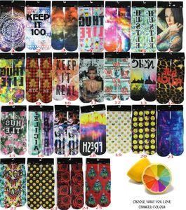 New Fashion Meias Esporte Printing meias masculinas Adulto 3D Impresso Stocking Novo Padrão Hip Hop algodão macio Sock Unisex SOX meias