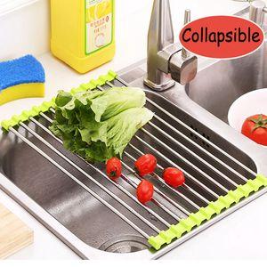 가정 사용 접히는 스테인리스 + 실리콘 부엌 싱크 배수 선반 과일 야채 세탁 선반기구 드레인 기
