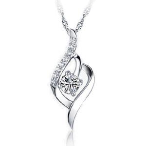 Женщина серебряный Кристалл ожерелье Алмаз кулон ожерелья свадьба бесконечности элегантный уникальный женщина Серебряное ожерелье прелести