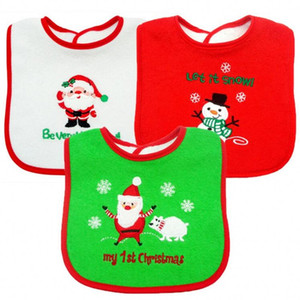 New Baby Christmas Bibs Newborn Infant Santa Claus Bavoir Toddler Saliva Bear Snowman Towel Embroidered Babero Christmas Gift
