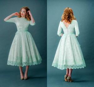 2015 Vintage Spitze Promkleider Bateau-Ausschnitt Halbarm Mint Green Tea Länge Frühling plus Größe Backless Hochzeit Kleider mit Ärmeln