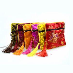 """50pcs 4 1/2 """"Piazza cinese di visualizzazione dei monili di seta confezione sacchetto chiusura lampo regalo di favore di favore del partito borse"""