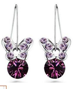più colore crystal butterfly lady's earings (2.6 * 1.2cm) (xgspc)