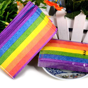 컬러 레인보우 종이 냅킨 조직 3 레이어 접는 손수건 타월 웨딩 파티 선물 호의 온라인 SD901