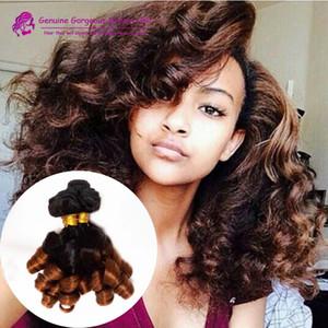 3 PC-Los brasilianische Ombre Menschenhaar Bundles Funmi Haar-Verlängerungen 1B / 30 # Ombre brasilianischen Tantchen Funmi lockiges Haar Weaving 3pcs