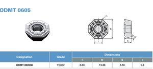 Plaquettes de fraisage CNC, matériaux généraux, ODMT060508 YG602