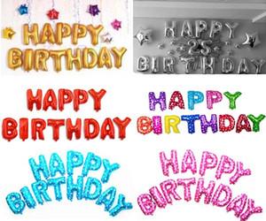 HEUREUX ballons lettre BIRTHDAY décorations de fête d'anniversaire Alphabet 16inch aliuminum feuille ballon 13 lettres de célébration / lot