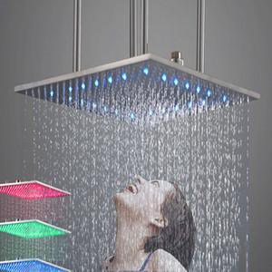 7 색상 변경 다채로운 LED 샤워 욕실 샤워 헤드 비 폭포 304 SUS 광장 단일 샤워 헤드 목욕 스프링 쿨러