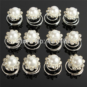 Wholesale 120pcs neue Hochzeits-Brautkristall simulierte Perlen-Strudel-Torsions-Haar-Drehbeschleunigungs-Stifte Freies Verschiffen
