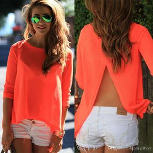Avrupa moda seksi Uzun kollu şifon geri açık çatal bluzlar artı boyutu ilkbahar yaz sonbahar kadın siyah turuncu bölünmüş t shirt ...