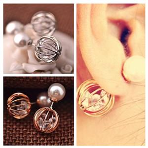Boucles d'oreilles de perles de cristal perle creuse de mode double boucle d'oreille pour les femmes