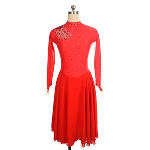 Special Design Long Skirt Adult Red Skating Dress Latest Collection Open Back Dress Female Beaded Training Dress