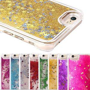 Glitter Bling Stars Dynamique Liquide Dur PC Effacer Crystal Case Couverture Arrière Pour iPhone 7 5S 6 6S plus Galaxy S5 S6 S7 EDGE Note 3 4 5