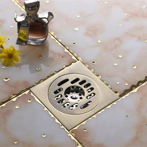 أزياء الساخنة 10 * 10CM خمر براس الفني حمام ساحة يتروم دش الطابق استنزاف العتيقة النحاس مربع يستنزف FD-1005