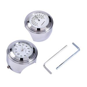 "1 paire 1 ""Universel Chrome Blanc Imperméable 7/8 Moto Guidon Guidon Monter Temp Thermomètre Horloge"