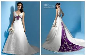 Dernière Conception Une Ligne Robes De Mariée Meilleures Ventes Princesse Longue Robes De Mariée W1428 Printemps V-Cou Ceinture Blanc Et Violet Satin Perlé Meilleur