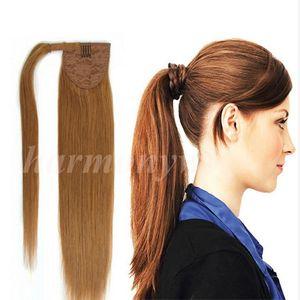 100% Insan Saçı at kuyruğu 20 22 inç 100g Düz Remy Çift Çizilmiş Brezilyalı Malezya Hint Perulu saç uzantıları En kaliteli