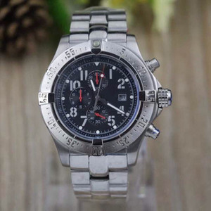 Горячие продажи Мужская белый Дата Кварц Seawolf из нержавеющей стали Спортивные Хронограф Часы Мужчины резиновый ремень Dive Наручные часы