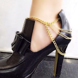 Frauen Mode Quaste Fußkettchen Fuß Ketten SLAVE ANKLE Schuhe mit hohen Absätzen Zubehör Multilayer Quaste Metallkette Goldene Fußkettchen Körperschmuck