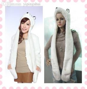 Cappelli dell'orso della pelliccia di Faux Fur del coniglio bianco all'ingrosso di modo di inverno-All'ingrosso + guanto con la tasca per il copricapo delle donne