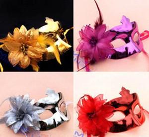 Mode femmes fleur masque de plumes Hallowmas dame enfants masque vénitien mascarade moitié métallique masque fête événement accessoires de Noël cadeau